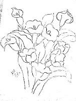 risco para pintar flores copos de leite e tulipas