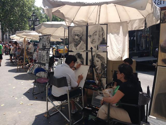 Pintores en la Rambla