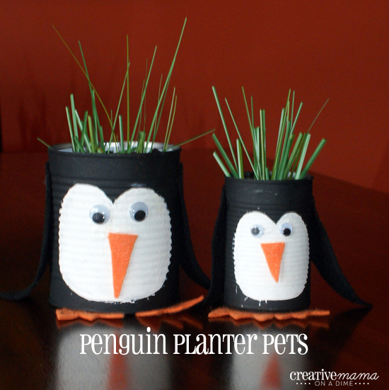 Penguin Planter Pets - modern day chia pet from recycled can