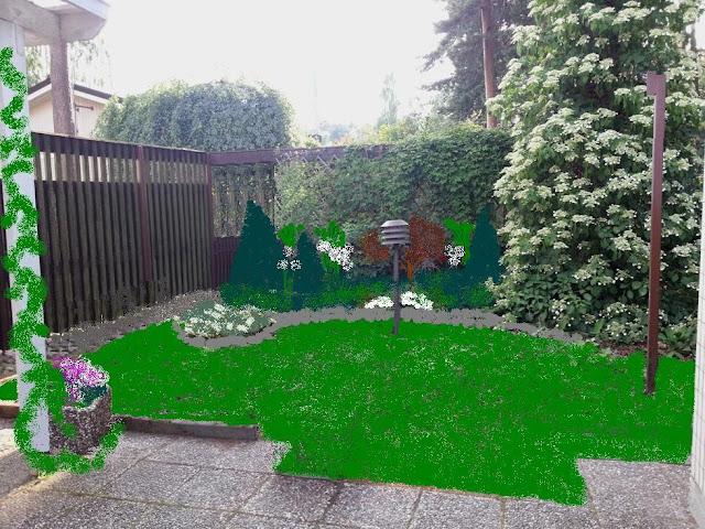 Puutarhasuunnitelma rivitalon takapihalle - yleissuunnitelma