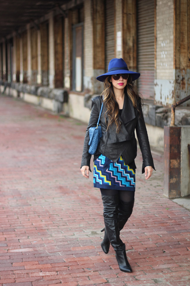 style of sam, sensi studio cobalt blue hat, LNA ashlyn sweater, helmut lang draped front leather jacket, missoni for target chevron skirt, coach over the knee boots, miu miu cristal stage bag, karen walker number one sunglasses, by boe jewelry, tom ford aphrodisiac lipstick, hermes enamel bangle