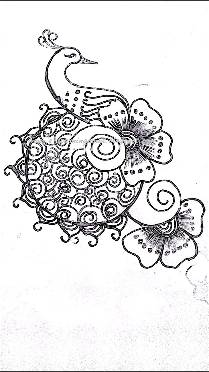 arts and learning simple flower and peacock mehndi design