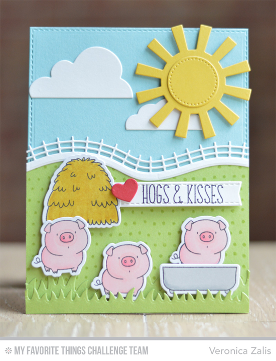 Hogs & Kisses Card by Veronica Zalis featuring the Birdie Brown The Whole Herd stamp set and Die-namics
