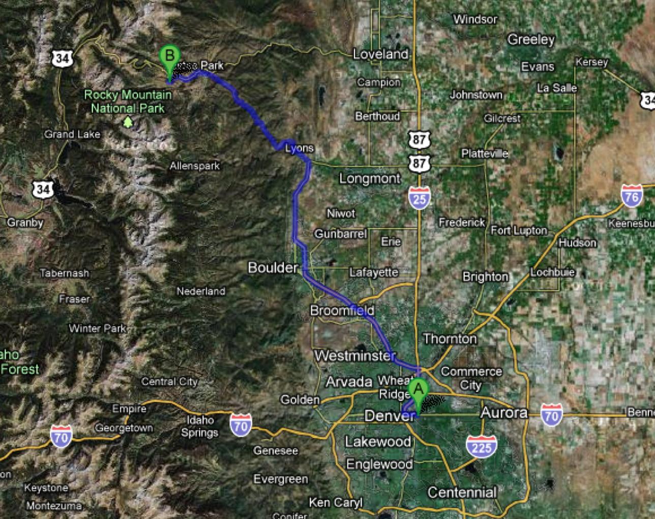 denver to rocky mountain national park estes park thanks to google maps
