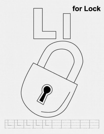 Printable Alphabet Coloring Page Lock