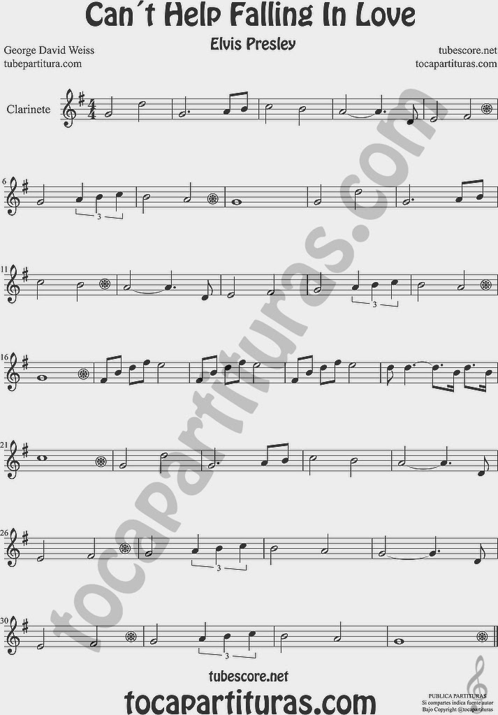 Partitura de Clarinete Sheet Music for Clarinet Music Score