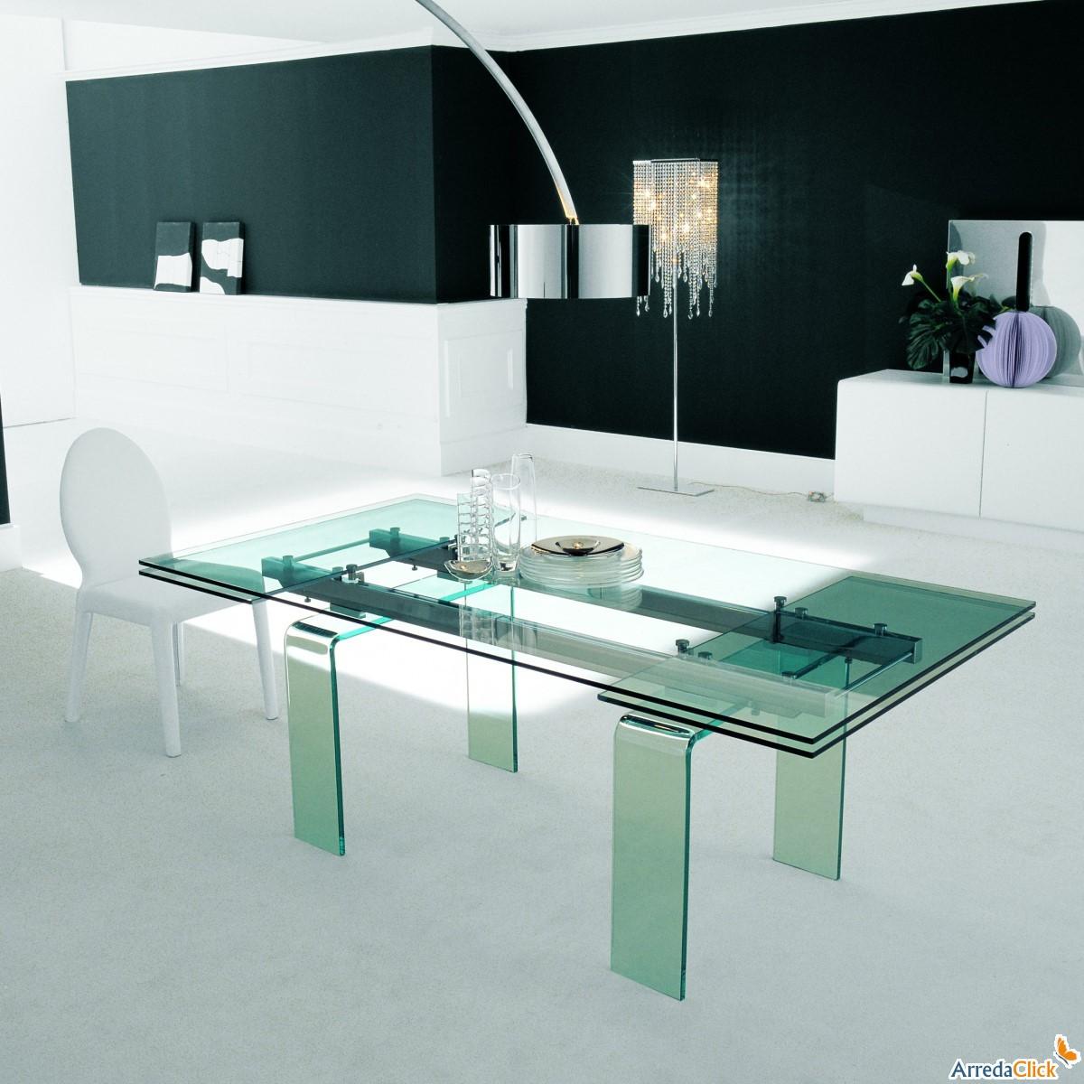 Arredaclick il blog sull 39 arredamento italiano online for Tavoli in cristallo allungabili