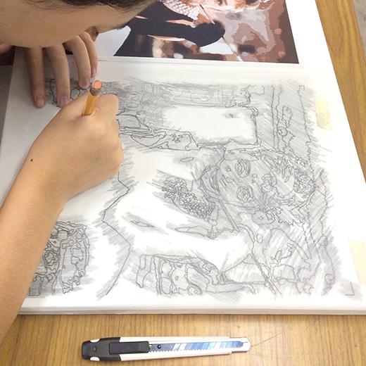 横浜美術学院の中学生教室 美術クラブ 写真から学ぶ!「アクリルガッシュで色面分割」3