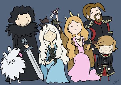 Lannisters, Daenerys, Jon y Fantasma versión hora de aventuras - Juego de Tronos en los siete reinos