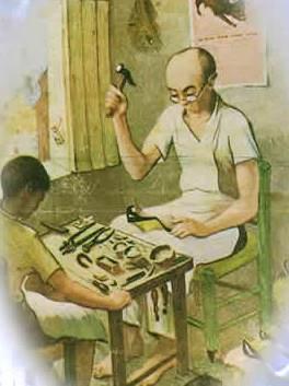 Imagen de zapatero trabajando