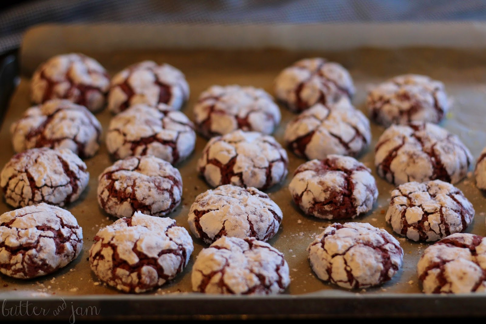Butter Jam Red Velvet Crinkle Cookies