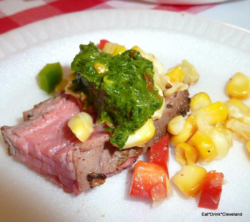 Skye LaRae's cumin and coriander crusted flank steak with garlic ...