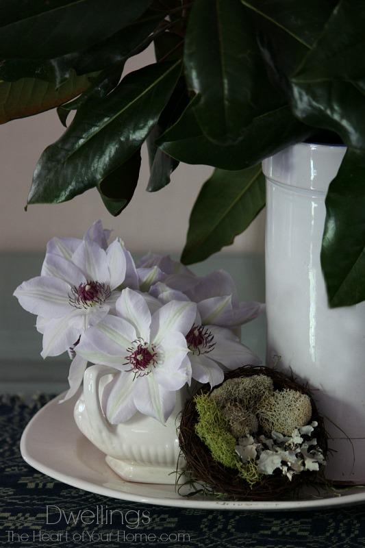 white clematis and birds nest centerpiece