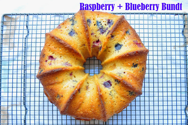 Rasberry Blueberry Bundt cake with Lemon and Greek Yogurt