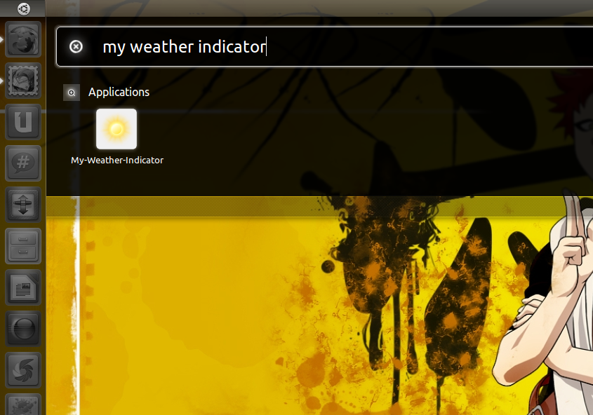 Menjalankan My Weather Indicator lewat menu Unity