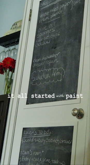 I loved my new DIY chalkboard door so much that I re-created it on the powder room door too \u2026 & chalkboard door: from builder grade to a+ - It All Started With Paint