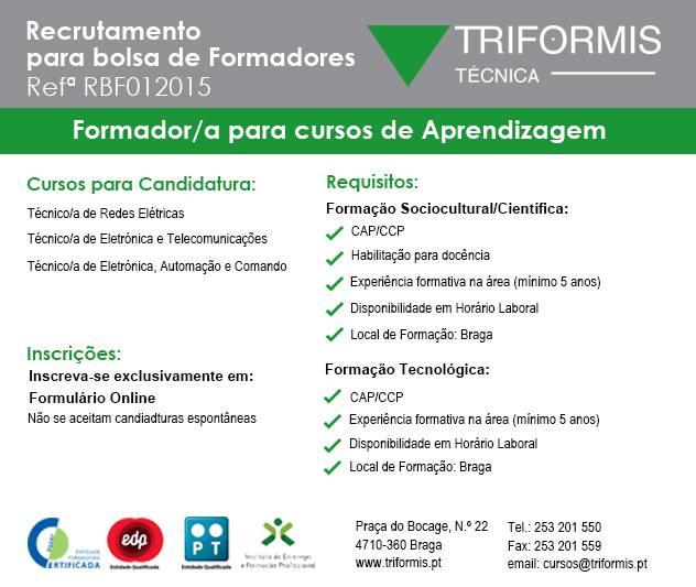 Recrutamento de Formadores/as para cursos de aprendizagem em Braga