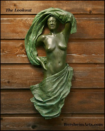 Lookout Bronze Wall Art Sculpture Female figure in Tapestry outdoor outside