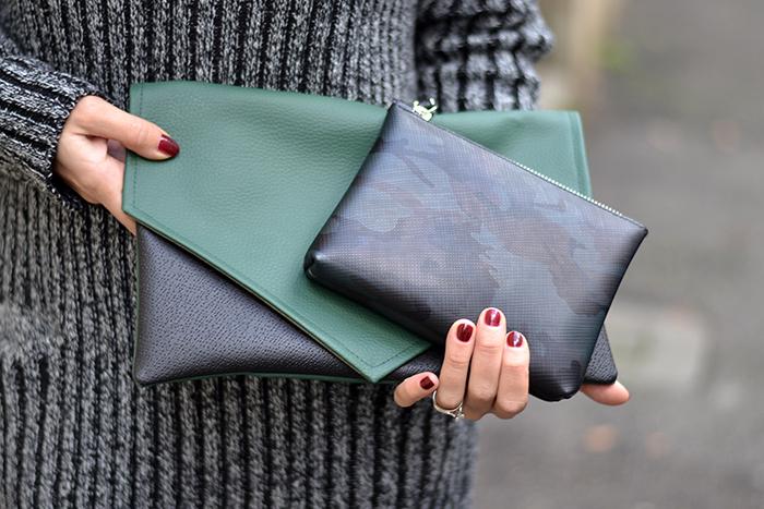 maxi pochette verde nero