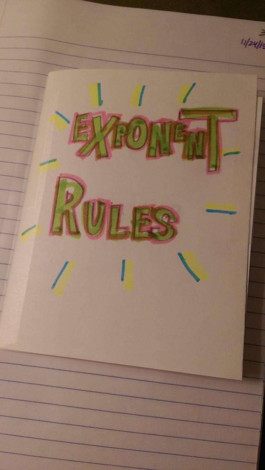 exponent rules flip book michaelis math rh michaelismath blogspot com Dividing Exponents Laws of Exponents Rules