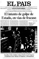 Portadas de las primeras ediciones especiales del diario El Pas del 23 y 24 de febrero de 1981