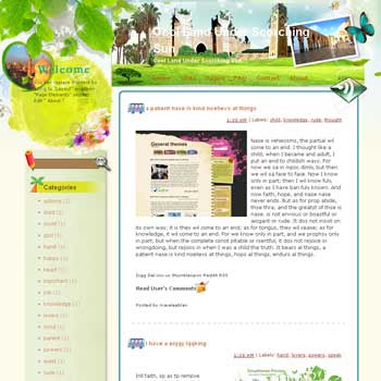 Cool Land Under Scorching Sun Blogger Template. free download template blogspot