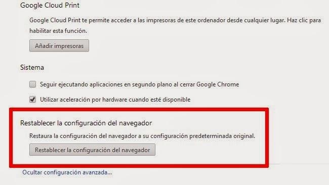 Vista previa opción restablecer para Google Chrome