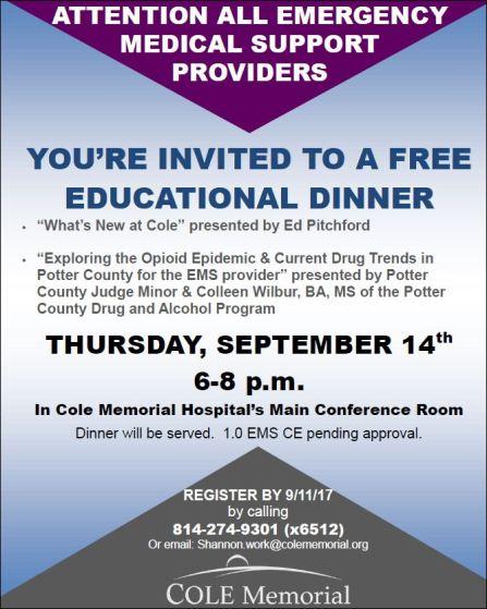 9-14 EMS Free Dinner