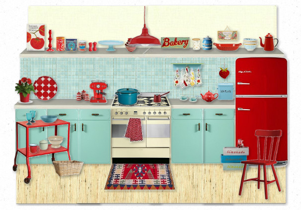 retro kitchen mood board red and