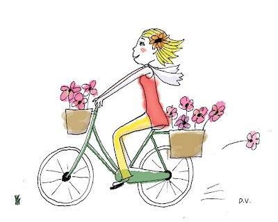 cycliste aux fleurs