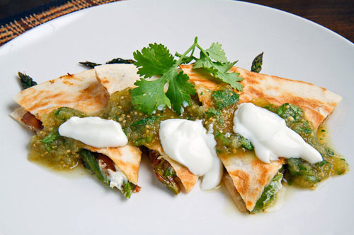 Roast Asparagus and Caramelized Mushroom Quesadillas with Goat Cheese
