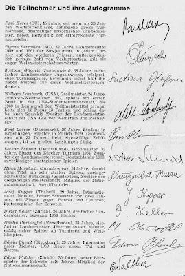 Firmas de los ajedrecistas participantes en el Torneo Internacional de Ajedrez Zúrich 1961