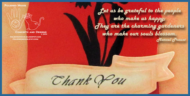 Image of portion of handmade thank you card with quote from Marcell Proust.
