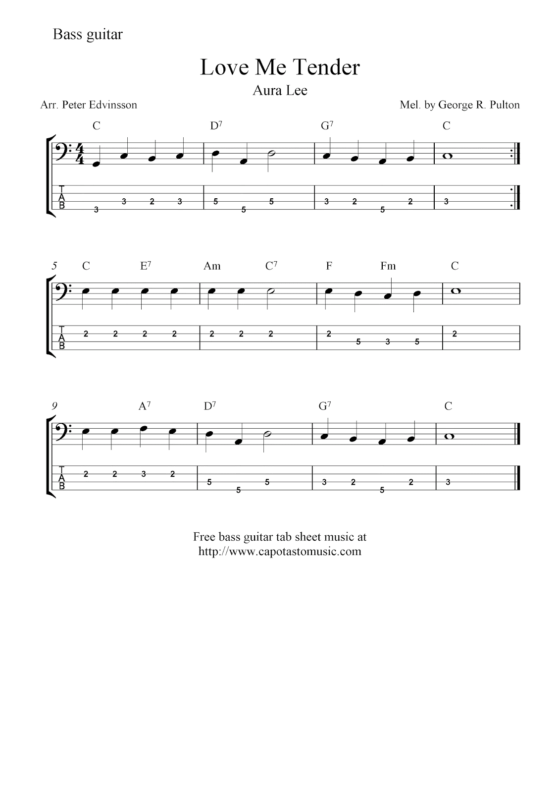 Free bass guitar tab sheet music, Love Me Tender (Aura Lee)