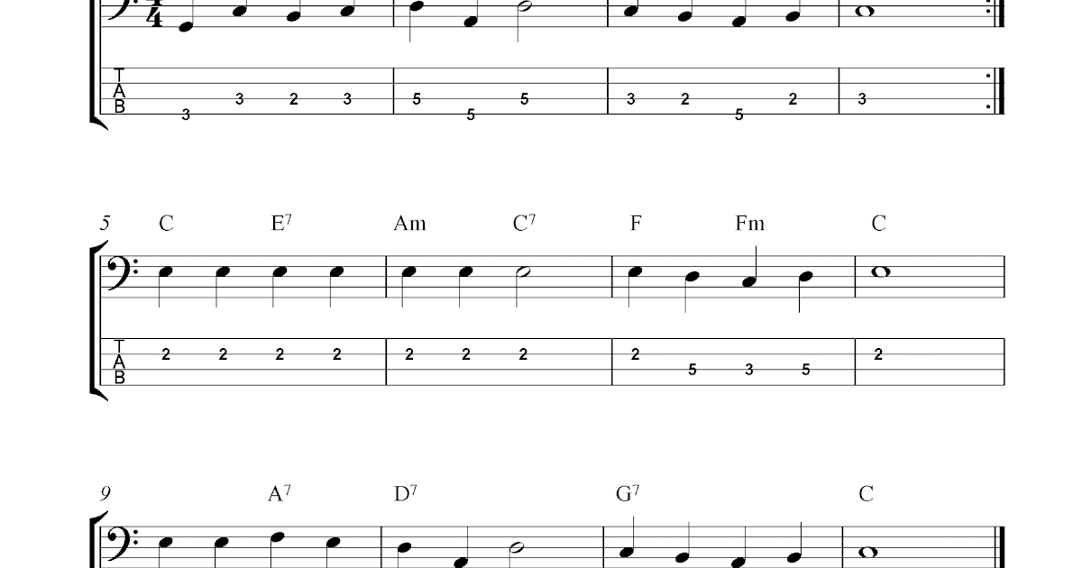 Free bass guitar tab sheet music, Love Me Tender (Aura Lee)