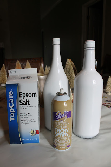 DIY snow covered bottle