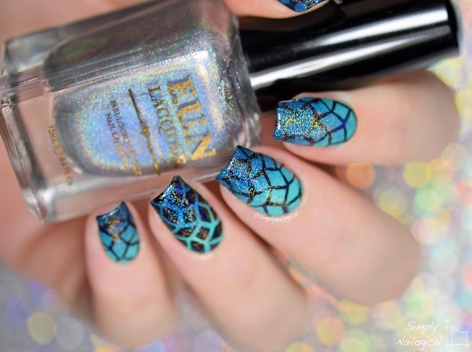Simply Nailogical: Turquoise diamond gradient and holographic top coat!!