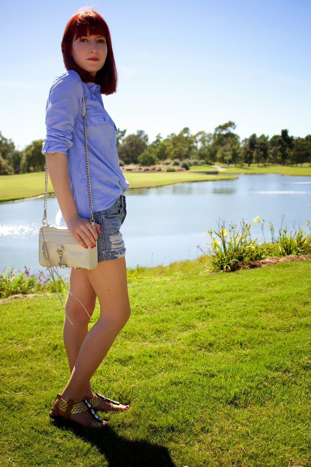 too faced, what i wore, beauty, urban outfitters bdg, topshop chambray utility shirt, sam edelman, rebecca minkoff mac