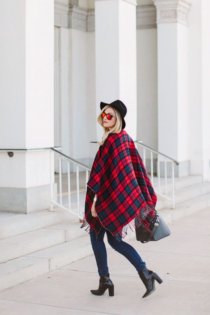 Oxydo, Retro, Mirrored, Orange, Sunglasses, Old Navy, Ripped, Mid-Rise, Denim, Jeans, Accessory Street, Reversible, Cape, Poncho, Plaid, Flannel, Topshop, Stripe, Crop, Tee, Lace, Felt, Fedora, Tibi, Booties, Winter, Fall, Nordstrom, Street Style, Fashion Blog, Caitlin Lindquist, A Little Dash of Darling, Blanket Scarf