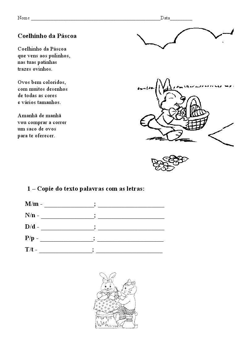 Atividades páscoa para imprimir