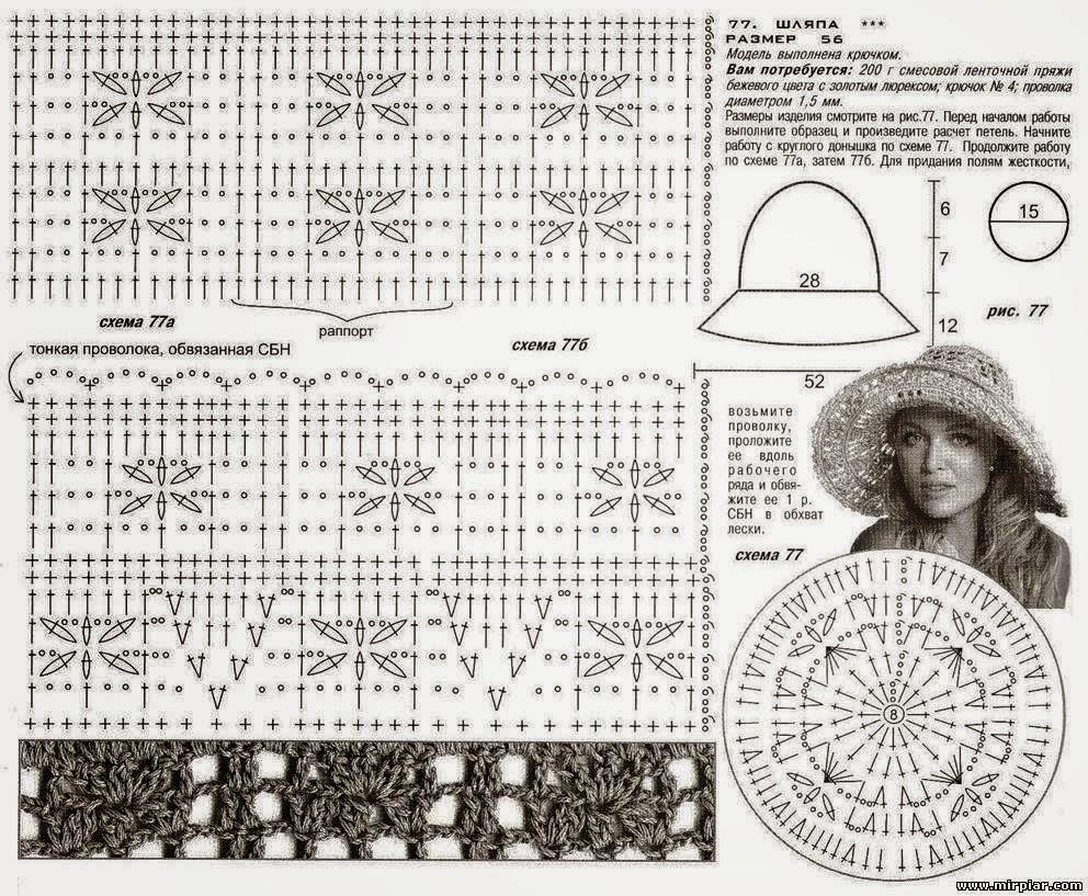 Вяжем крючком шляпу с полями схема