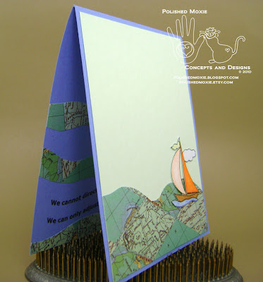 Picture of the card inside sitting at a right angle to show dimension of its elements