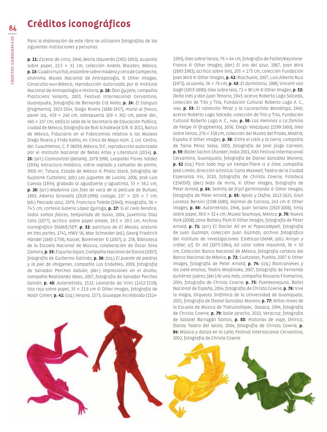 Créditos iconográficos - Eduación Artística 3ro Bloque 5 2014-201