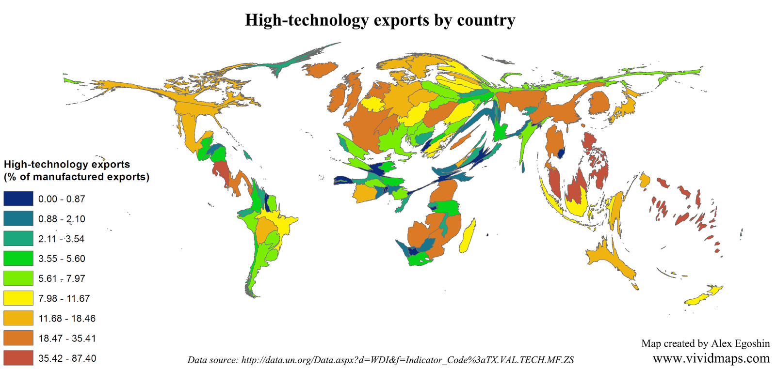 High-technology exports by country