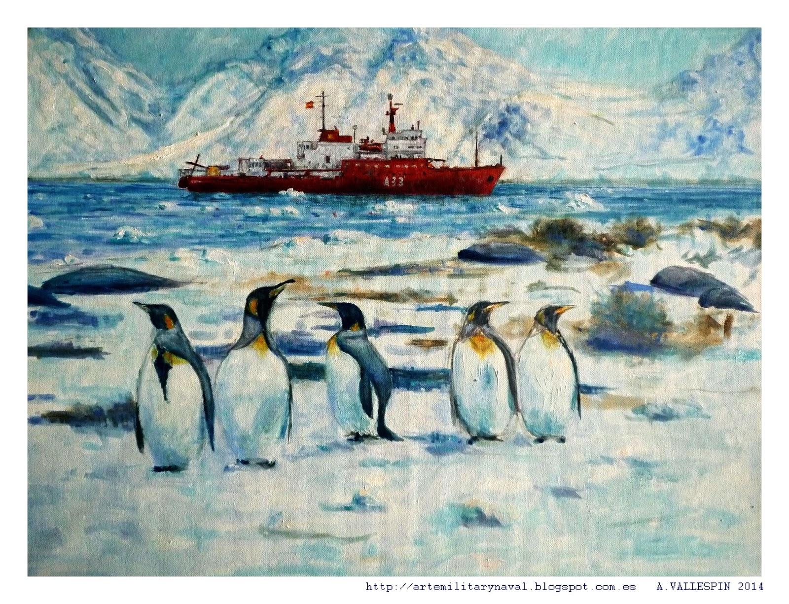 pintura al oleo del buque hesperides