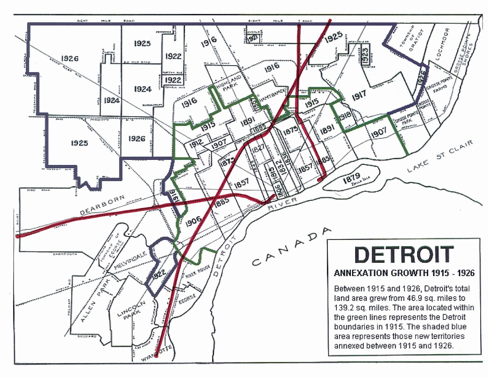 this is pretty well illustrated in the map below with the michigan central and grand trunk western lines highlighted in red the city s boundaries prior to