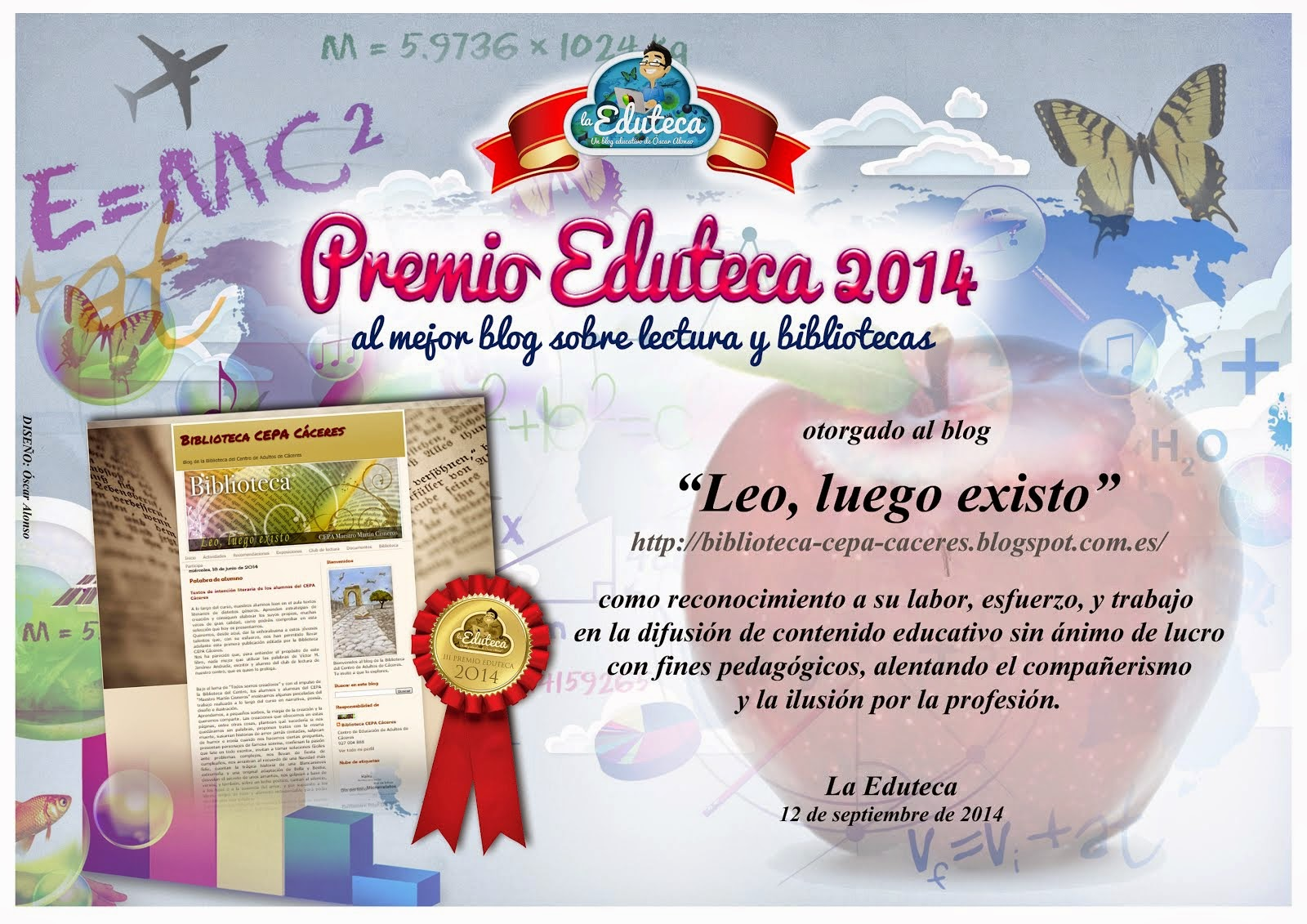 Ganador del Premio Eduteca 2014 Mejor Blog de Lectura y Bibliotecas