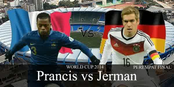 Perkiraan Hasil Akhir Laga Babak 8 Besar World Cup 04/07/2014 France vs Jerman