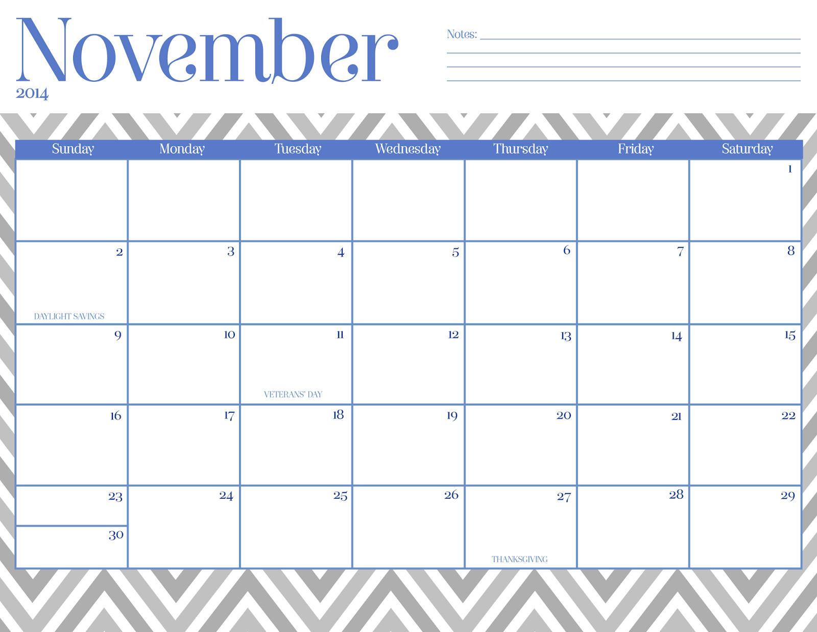 2015 Calendar November 2015 Printable One Page | Calendar Template ...