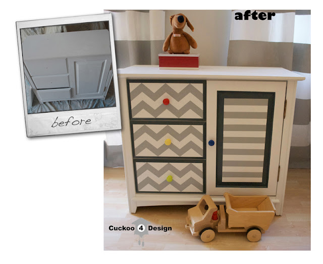 grey chevron changing table by cuckoo4design